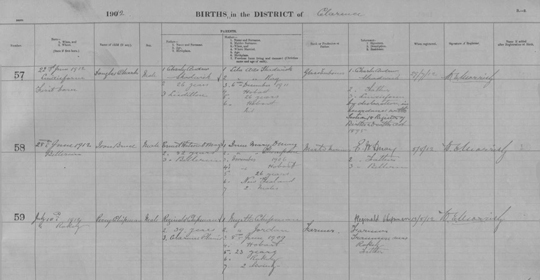 Tasmania birth register